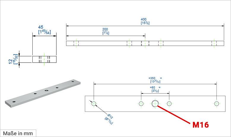 Anschraubplatte für Rollapparate
